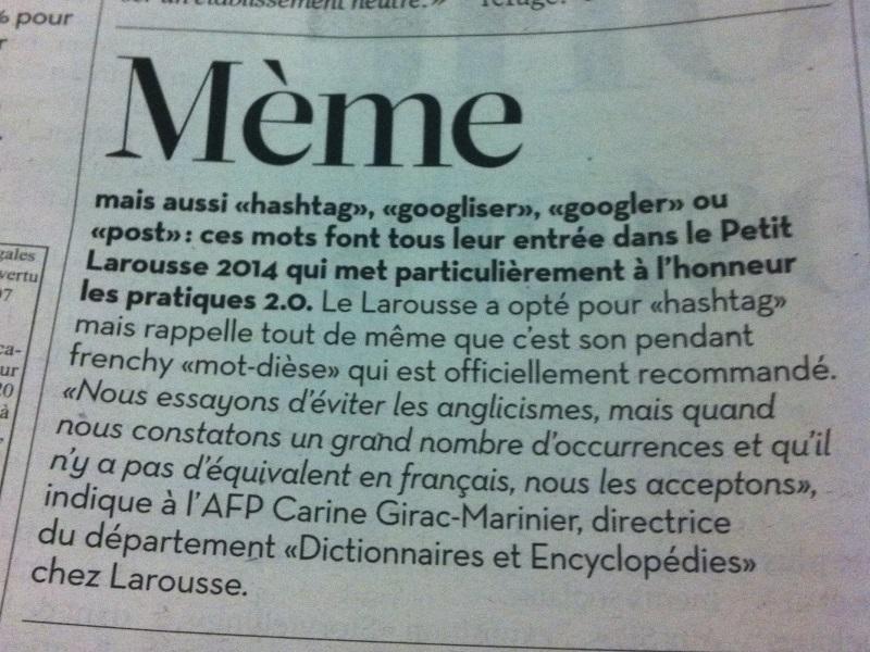 article libé mème Larousse